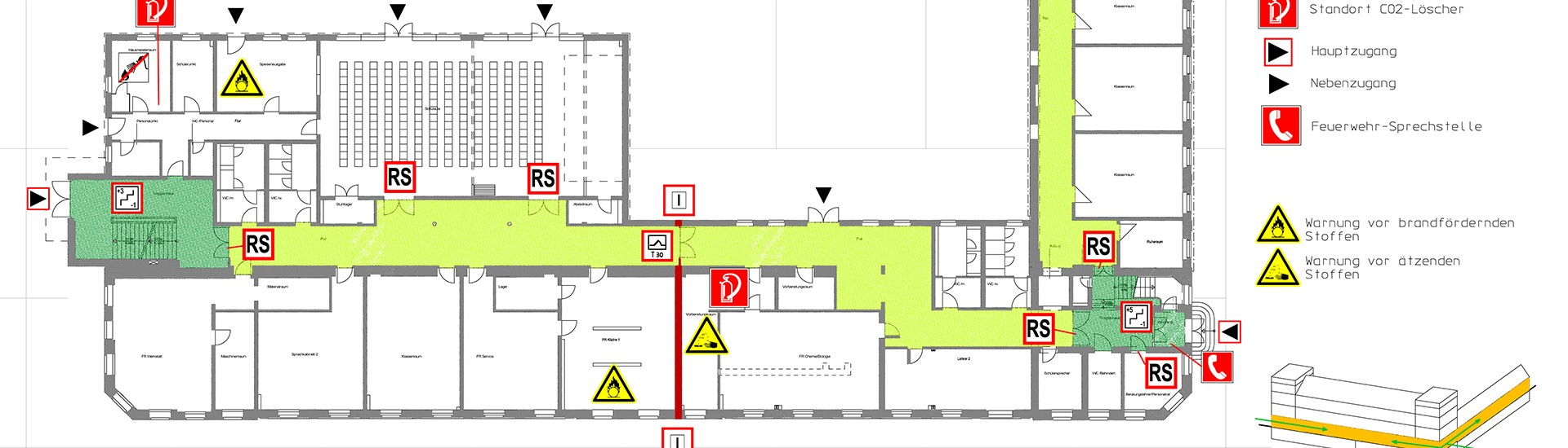 Feuerwehrplan eines Hauses für den Brandschutz